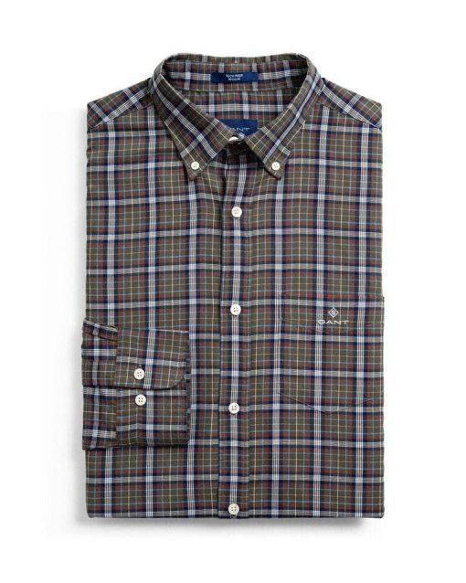 Gant D2. Tp Oxford Check Shirt Brown