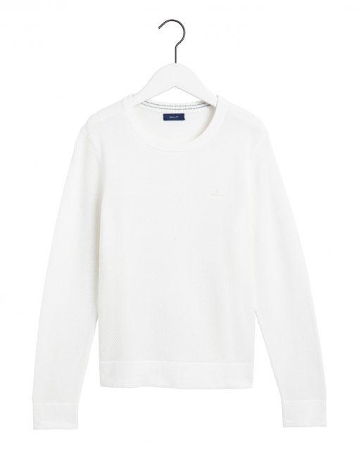 Gant Cotton Pique Crew Natural White