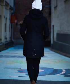 Nål Wool Coat With Reflectors Black