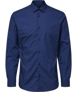Selected Slimpen-Circle Shirt Aop Blue Blue