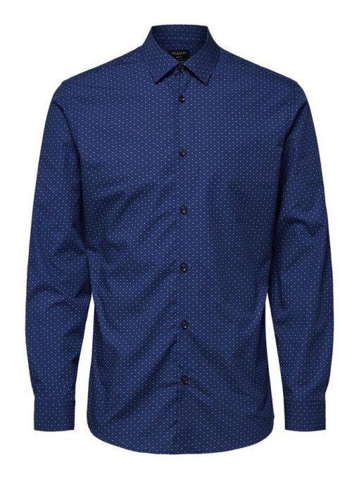 Selected Slimpen-Circle Shirt Aop Blue Blue