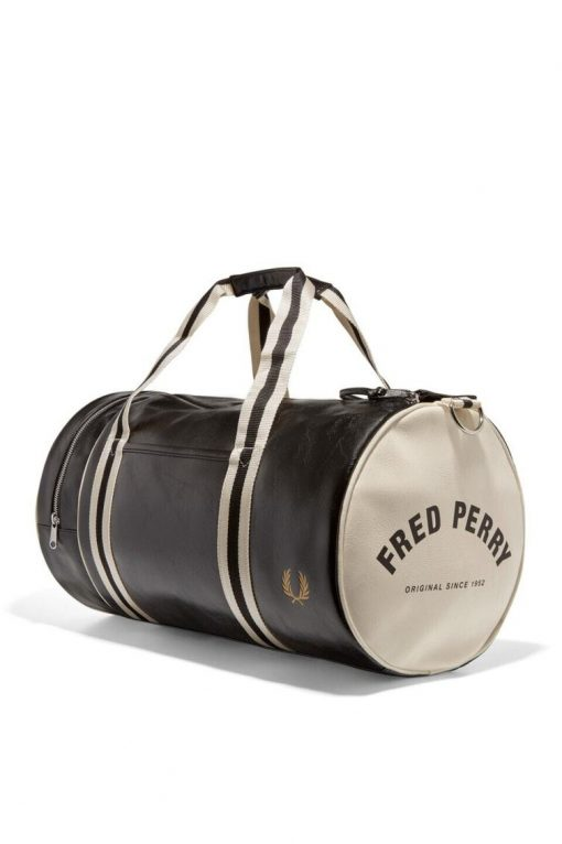 Fred Perry Classic Barrel Bag Black White
