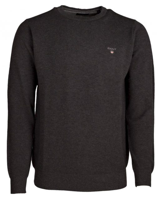 Gant Cotton Pique Crew Dark Grey