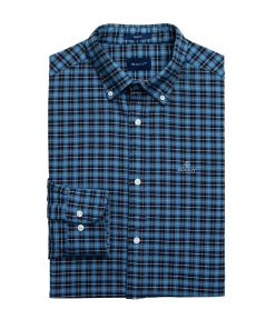 Gant D1. Brushed Oxford Check Reg Blue Marine