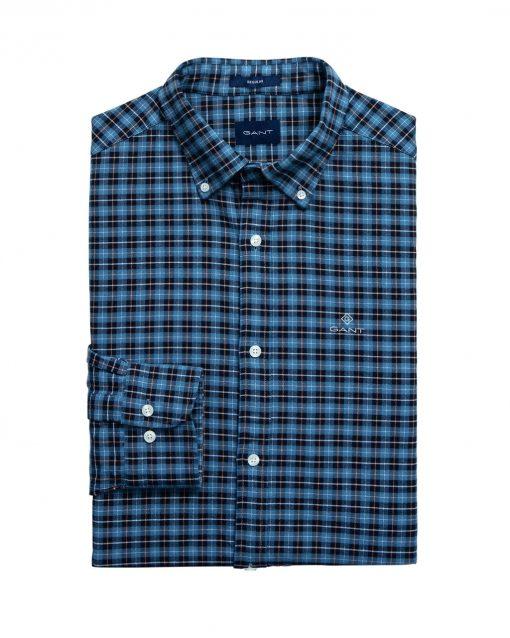 Gant D1. Brushed Oxford Check Reg Blue Marine