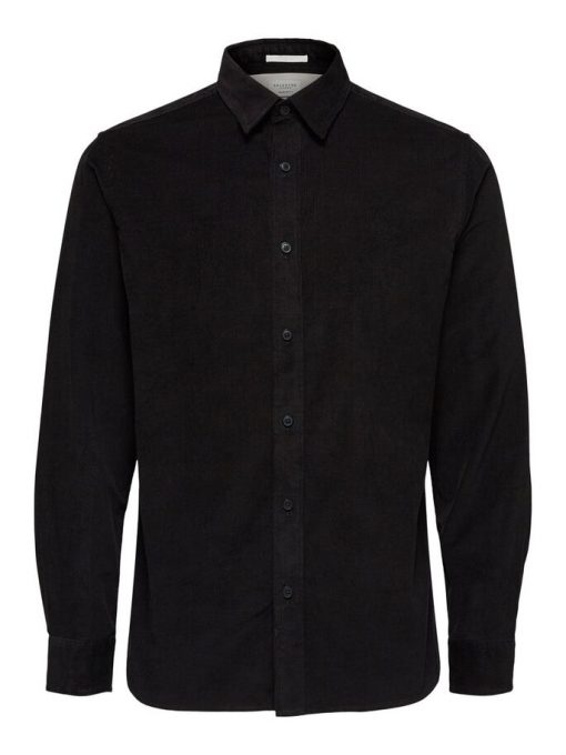 Selected Regcraig-Cord Shirt Ls Black Black