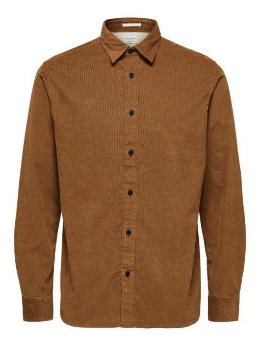Selected Regcraig-Cord Shirt Ls Brown Brown