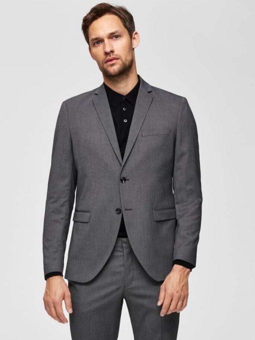 Selected Slim-Mylologan Dk Gr Str Grey Gray