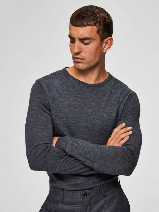 Selected Tower New Merino Crew Neck Grey Gray