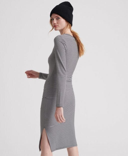 Superdry Rouched Midi Ls Dress Black