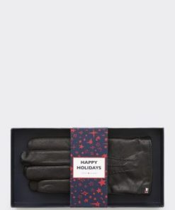 Tommy Hilfiger Flag Leather Gloves Black