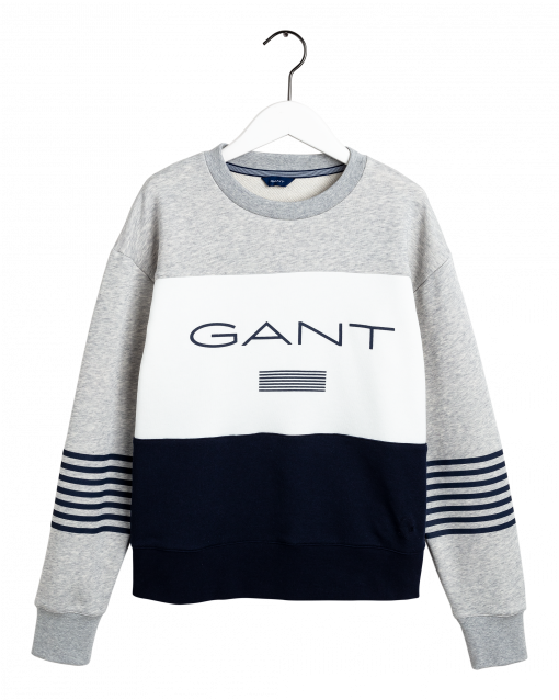 Gant Stripe C-Neck Sweat Light Grey