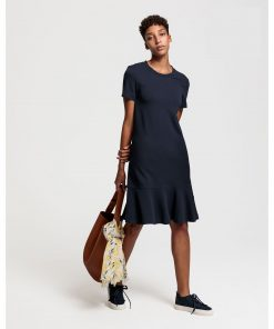 Gant Flounce Detail Dress Navy