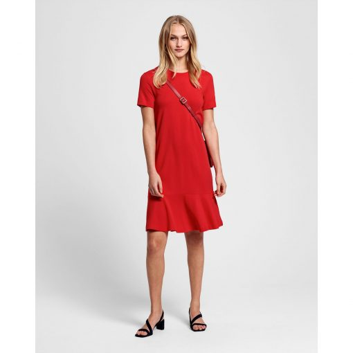 Gant Flounce Detail Dress Red
