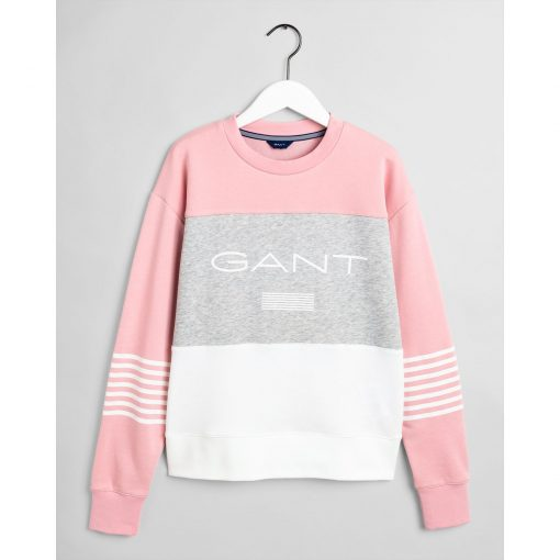 Gant Stripe C-Neck Sweat Rose