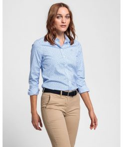 Gant Micro Floral Stretch Blouse Light Blue
