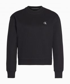 Calvin Klein Logo Embroidery Crew Neck Black