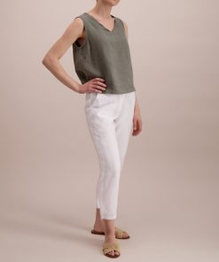 Balmuir Louise Linen Trousers White