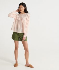 Superdry Ellison Lace Longsleeve Top Light Pink