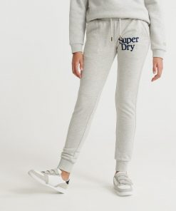 Superdry Applique Serif Joggers Light Grey