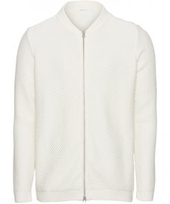 Knowledge Cotton Apparel Field Zip Cardigan White