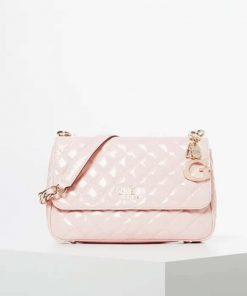 Guess Melise Patent Quilted Shoulder Bag Rose