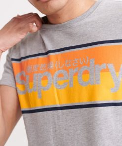 Superdry Core Logo Stripe T-shirt Grey Marl