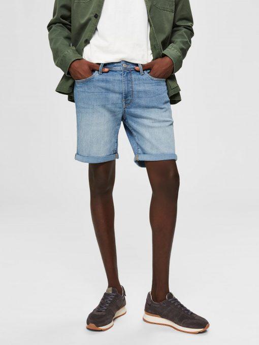 Selected Super-stretch Denim Shorts Light Blue Denim