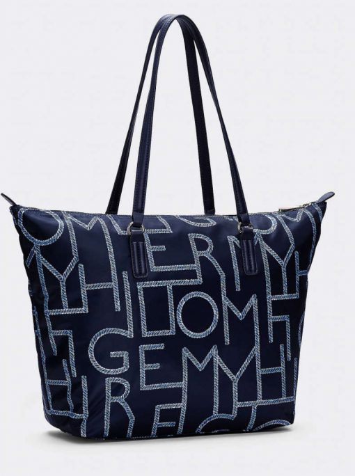 Tommy Hilfiger Rope Print Tote Bag White-blue mix