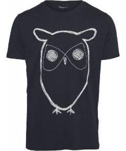 Knowledge Cotton Apparel Alder Big Owl T-shirt Navy