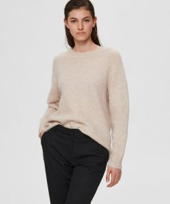 Selected Femme Lulu O-neck Knit Light Grey Melange