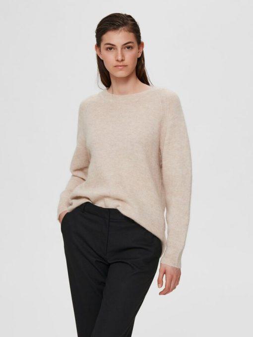Selected Femme Lulu O-neck Knit Light Grey Melange
