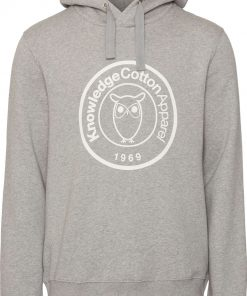 Knowledge Cotton Apparel Elm Hood Big Badge Sweat Grey