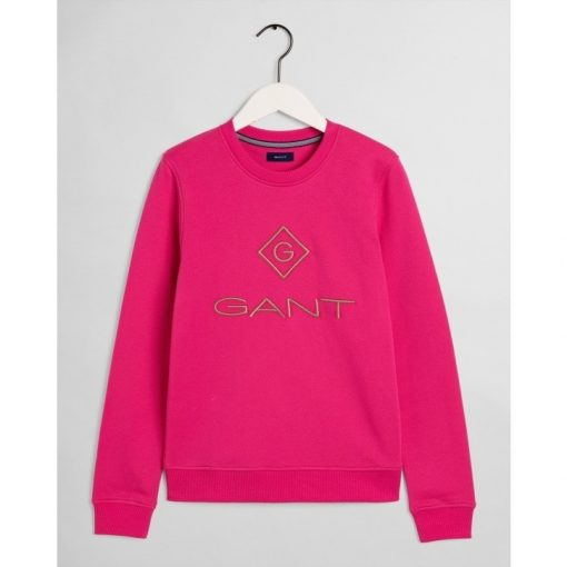 Gant Colour Lock up Sweater Rich Pink