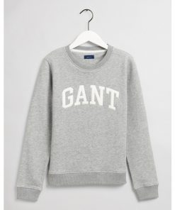 Gant Arch Logo C-Neck Sweat Grey Melange
