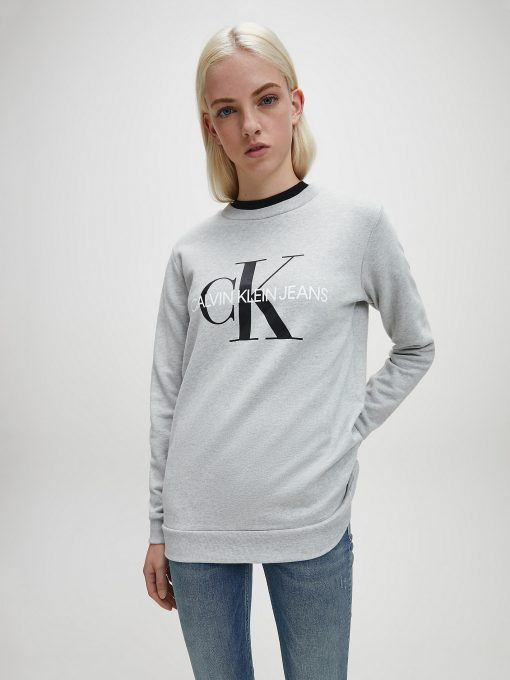 Calvin Klein Monogram Logo Sweatshirt Light Grey Heather