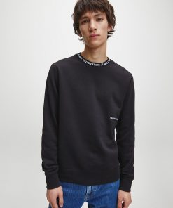 Calvin Klein Institutional Logo Collar Sweatshirt Black