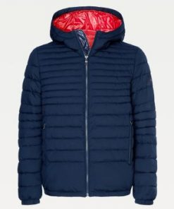 Tommy Hilfiger Quilted Hooded Jacket Desert Sky Blue