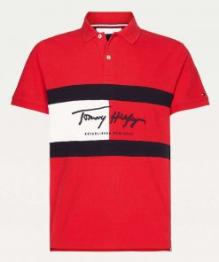 Tommy Hilfiger Autograph Flag Polo Shirt Red