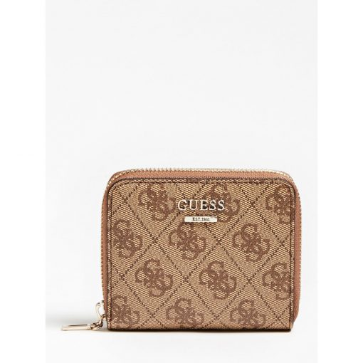 Guess Cathleen Small Zip Around Wallet Brown