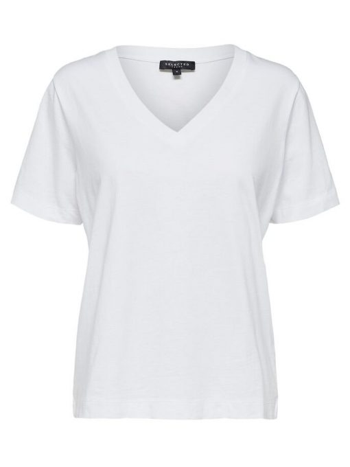 Selected Femme Organic Cotton Tee Bright White
