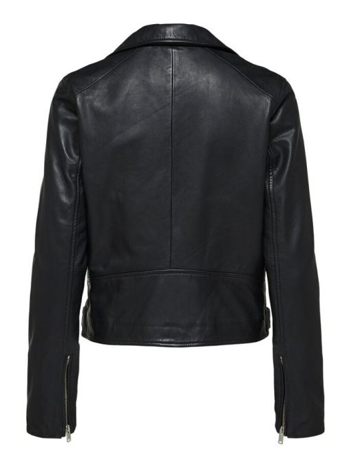 Selected Femme Katie Leather Jacket Black