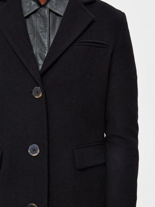 Selected Femme Elina Wool Coat Black
