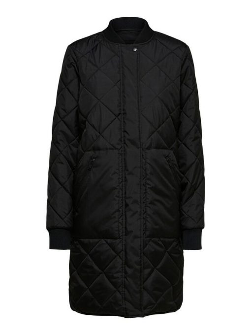 Selected Femme Natalia Quilted Coat Black