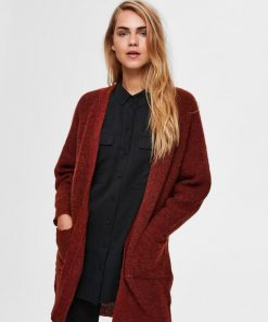 Selected Femme Lulu Long Cardigan Smoked Paprika