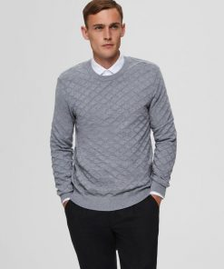 Selected Homme Diamond Pattern Crew Neck Medium Grey Melange