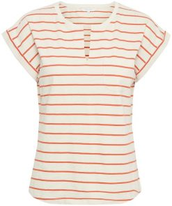 Part Two Kedita T-shirt Stripe Orange Sunset