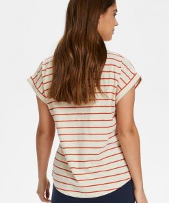 Part Two Kedita T-shirt Stripe Orange Sunset