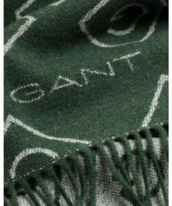 Gant G Pattern Wool Scarf Tartan Green