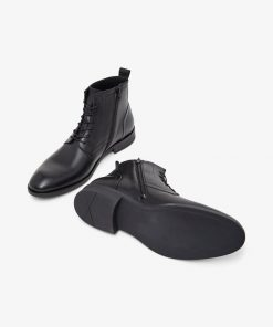 Bianco Biabyron Leather Lace-up Boots Black